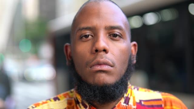 Afro serious descent portrait