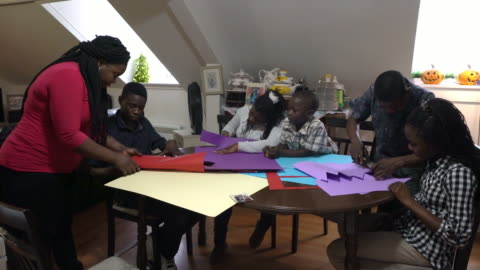 afro-american family paper craft home real family,.. part of series craft stock videos & royalty-free footage
