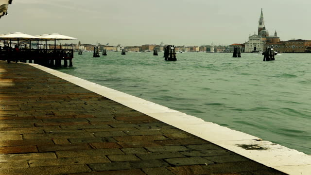 After the rain. Riva degli Schiavoni is a water front in Venice, Italy. video