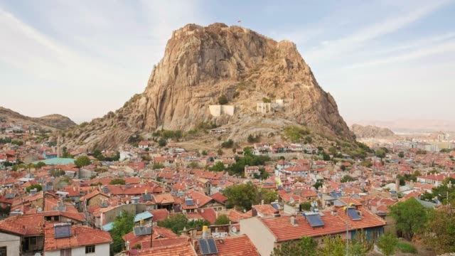 Afyonkarahisar city cityscape with Afyon castle on the rock, Turkey