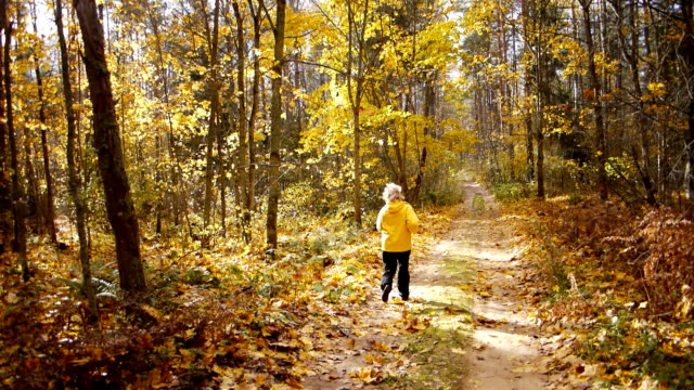 Aged sporty woman jog in autumn forest - video
