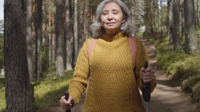 Aged Woman Doing Nordic Walking Session Medium shot of elderly active Caucasian woman wearing warm clothes practicing Nordic walk with ski poles in forest hiking stock videos & royalty-free footage