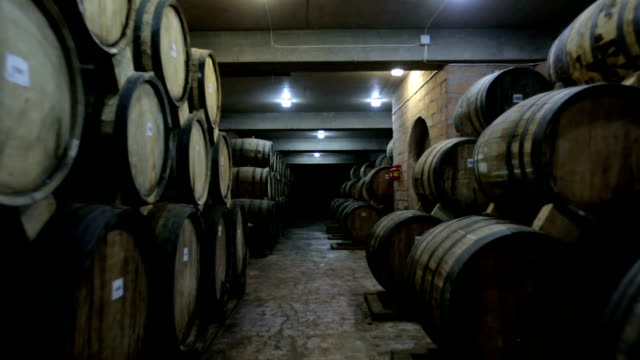 aged wooden barrels with a wine , brandy or whiskey in a big warehouse . dolly , ronin movement a long row of wine barrels at a vintage winery with alcohol . - whisky video stock e b–roll