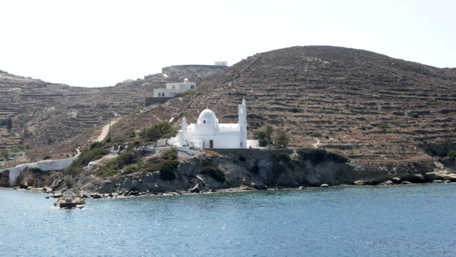 agia irini church in ormos harbor on the island of ios greece