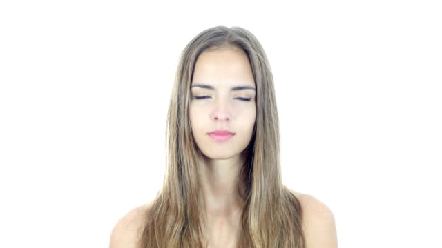 Agree, Female Gesture of Yes, Shaking Head, White Background