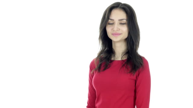 Agree, Gesture of Yes, Shaking Head, Female on White Background