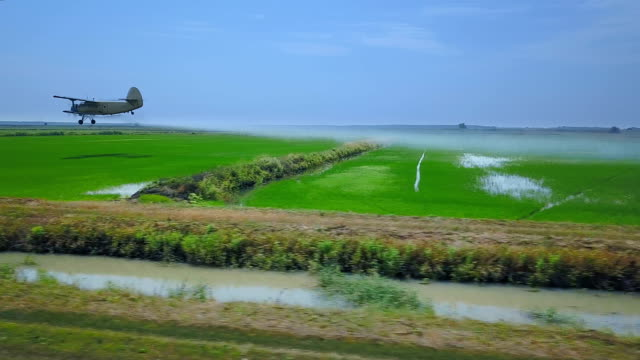Agricultural Aviation. Agricultural Aircraft Sprays Chemicals Rice Field