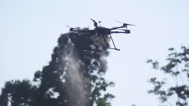 Agricultural drones. Spray chemical fertilizers over the air.