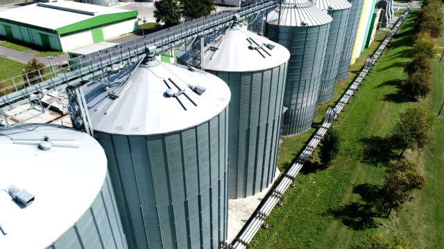 agricultural silo. aerial view - aerial agriculture stock videos & royalty-free footage