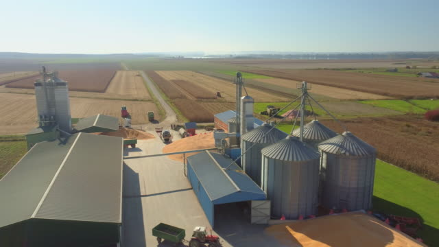 AERIAL Agricultural storage facilities Drone shot of a huge agricultural storage facilities somewhere in the countryside. crop plant stock videos & royalty-free footage