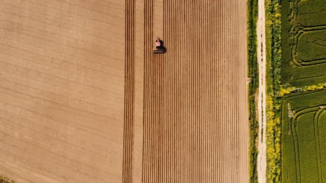 vídeos de stock e filmes b-roll de agricultural tractor plowing field - terra cultivada