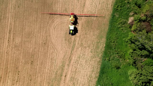 Agriculture tractor in early spring spraying field, aerial view Agriculture tractor in early spring spraying farmland field with crop sprouts, aerial view plantation stock videos & royalty-free footage