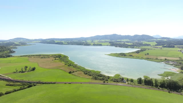 Agriculture with lake - video