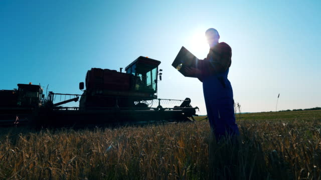 Agronomist works with a laptop in a field.