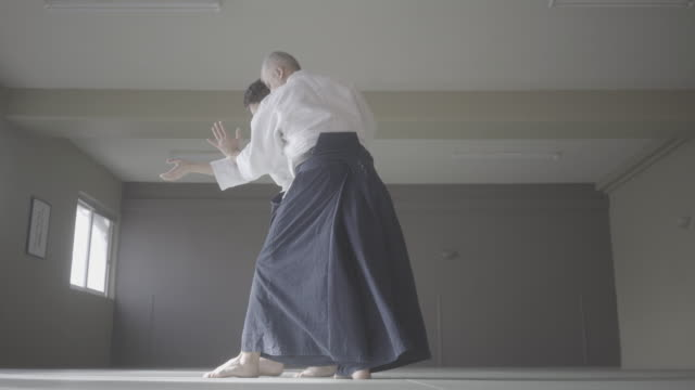 Aikido class Class of Aikido martial Arts in Dojo martial arts stock videos & royalty-free footage