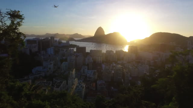 Air amazing shot from the top of a mountain in rio do janeiro video