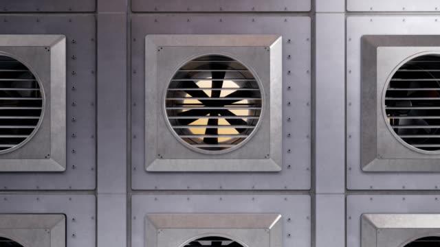 luftkonditioneringssystem, industriventilation fans under rotation. inomhus eller utomhus kyla eller värme processen. kamerazoom ut, 60 fps animation. - värmepump bildbanksvideor och videomaterial från bakom kulisserna