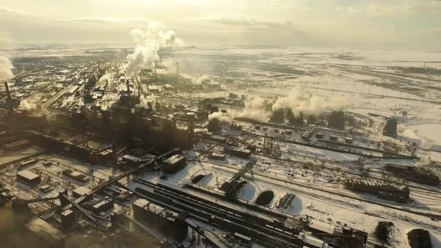 Air pollution. Metallurgical plant. Top shooting. video