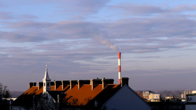 Air pollution. Power plant video