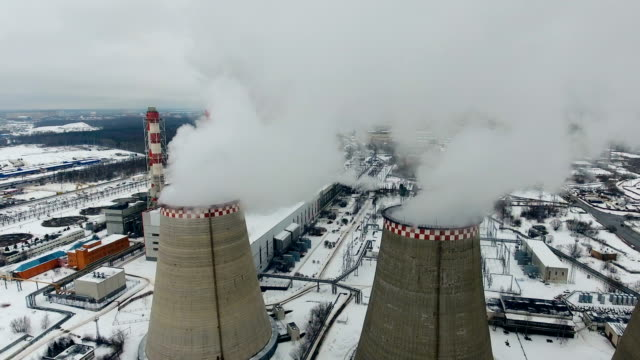 Air pollution. Power plant with smoke from chimneys. Drone shot. video