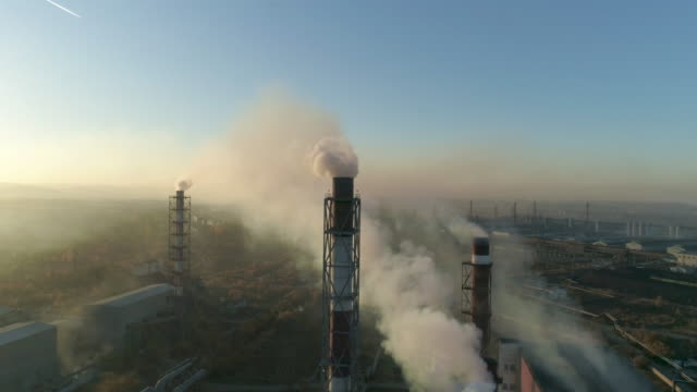 Air pollution Smoke coming from the smokestacks of the plant