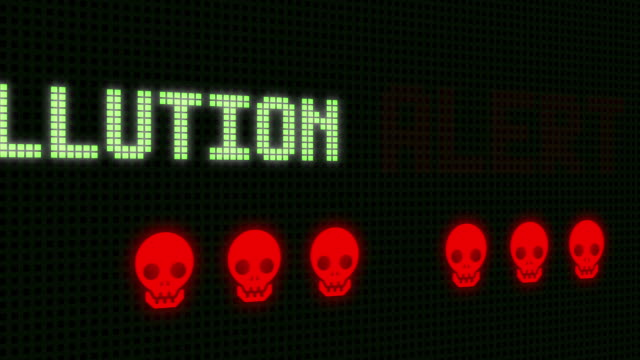 Air polution Alert Signal on the Screen with skull - animation
