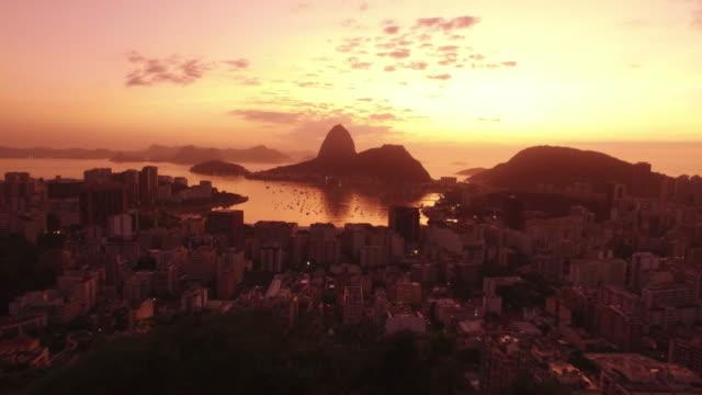 Air shooting incredible panoramic view to the center of Rio de Janeiro video