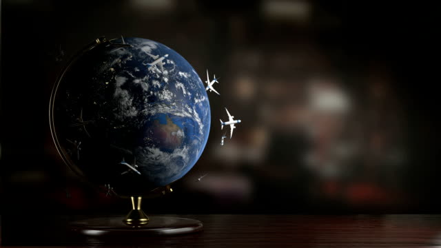 stockvideo's en b-roll-footage met air traffic around the earth - bureauglobe