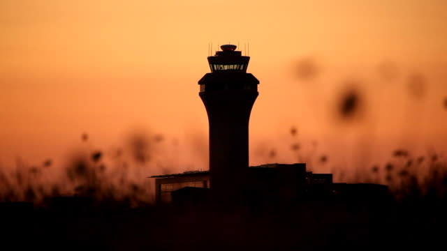 HD air traffic control ATC tower sunset video