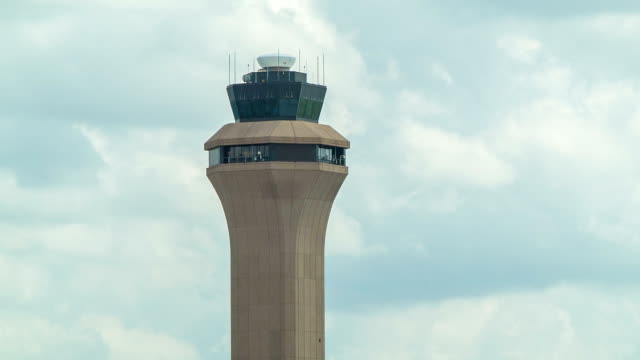 Air Traffic Control Tower Close-up of Houston Bush Airport IAH video