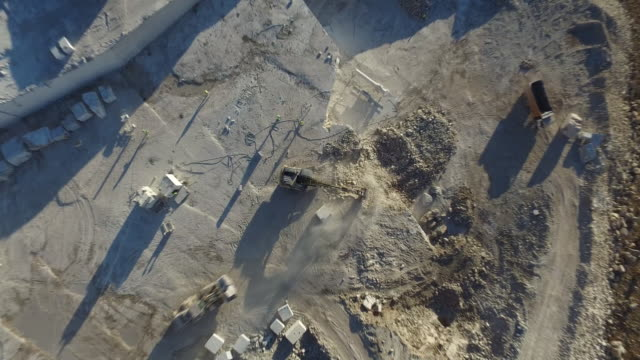 Air view of a marble quarry.Panoramic view of the extraction of marble in the quarry. Technique in the marble quarry of turkey sivas.pen pit mine. Aerial video with drone