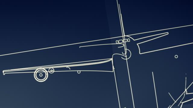 Aircraft Blueprint Smooth Camera Pan and Zoom HD, SD video