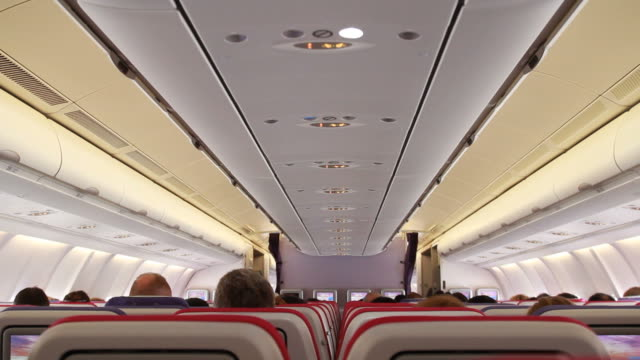Aircraft cabin on the plane video