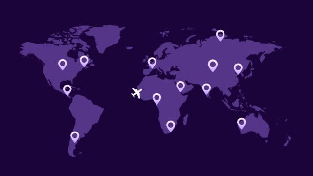 vidéos et rushes de aéronefs volant autour de fond de mouvement de carte monde - épingle