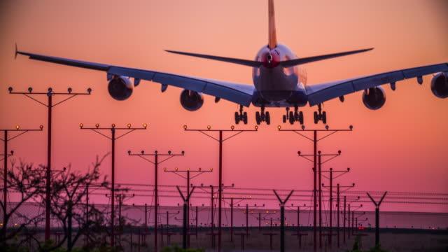 Aircraft landing on runway video