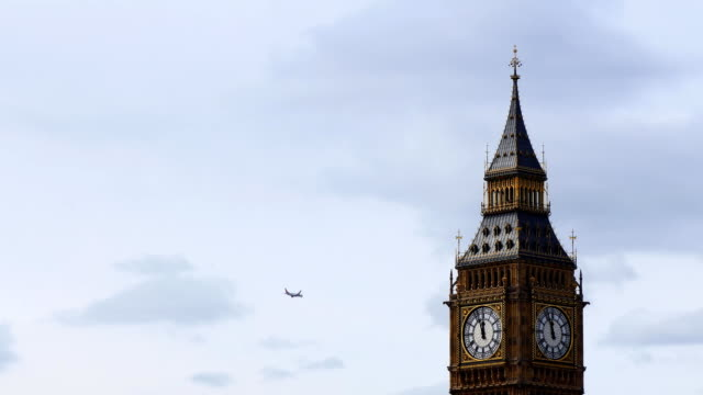 Aircraft passing Big Ben Tower video