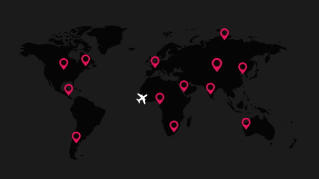 aircraft routes over world map with map pointers on black background
