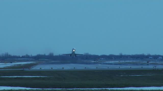 Aircraft takeoff at dusk video