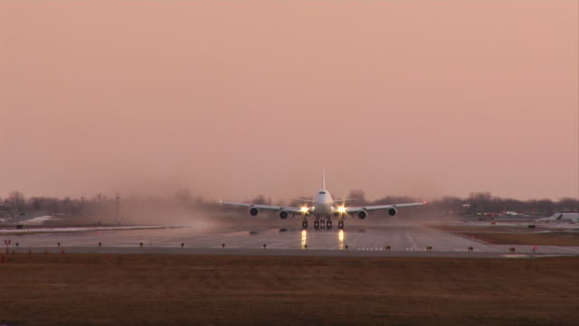 aircraft takeoff 747 takeoff at dusk CHECK THESE OTHER AIRCRAFT SHOTS! low angle view stock videos & royalty-free footage