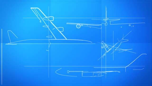 Aircraft Technical Drawing Blueprint Time Lapse HD, SD video