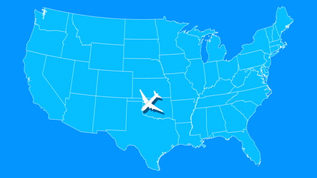 Airplane animation fly over around blue USA map. Airplane animation fly over around blue USA map. Summer vacations and travel concept. Seamless looped motion graphic animation. florida us state stock videos & royalty-free footage