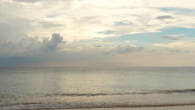 海のビーチの上に接近する飛行機 ビデオ