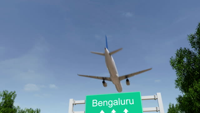 Airplane arriving to Bengaluru airport. Travelling to India conceptual FullHD animation video