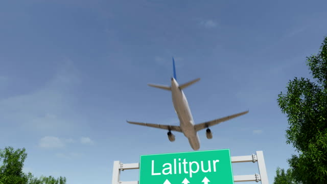 Airplane arriving to Lalitpur airport. Travelling to Nepal conceptual FullHD animation video