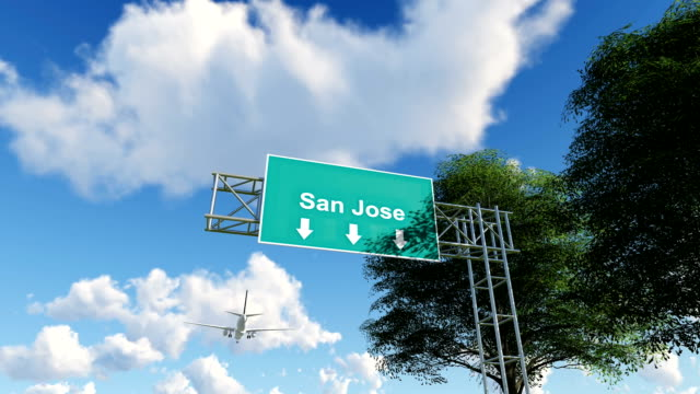 airplane arriving to san jose airport to usa - road signs stock videos and b-roll footage