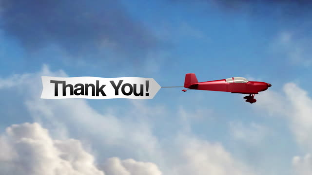 Airplane Banner - Thank You (Center)  thank you stock videos & royalty-free footage