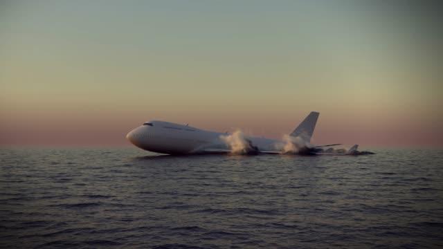 airplane crash emergency landing on water - skrzydło samolotu filmów i materiałów b-roll