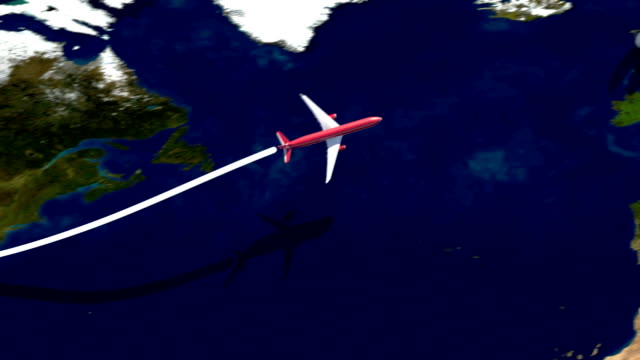 Airplane flight path from USA to Great Britain and return video