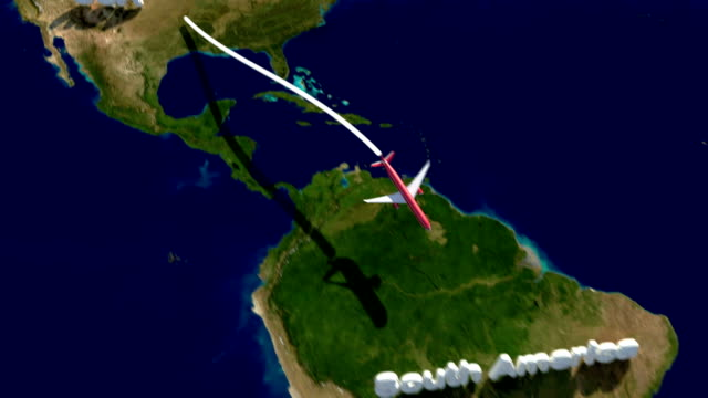 airplane flight path from usa to south america and return - south america travel stock videos and b-roll footage