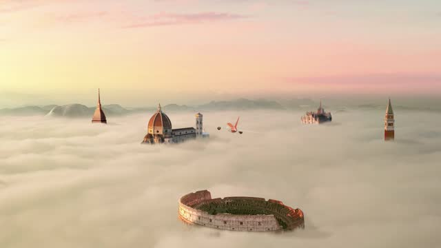 airplane fly over italian landmark over clouds aerial view